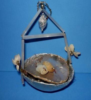 Antique german sebnitz cotton glass birds on pond ornament ebay antique christmas Pond ornaments