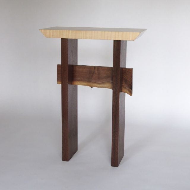 Solid Wood Accent Table With Live Edge Stretcher  Small Narrow Side Table,  Entry Table