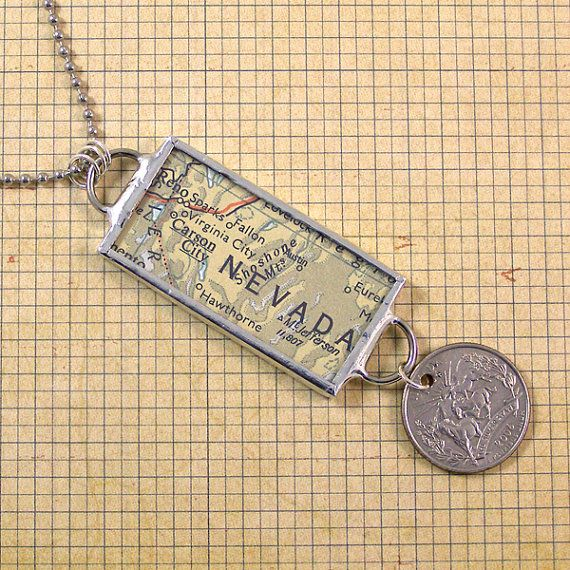 Nevada Vintage Map and Coin Pendant Necklace by XOHandworks