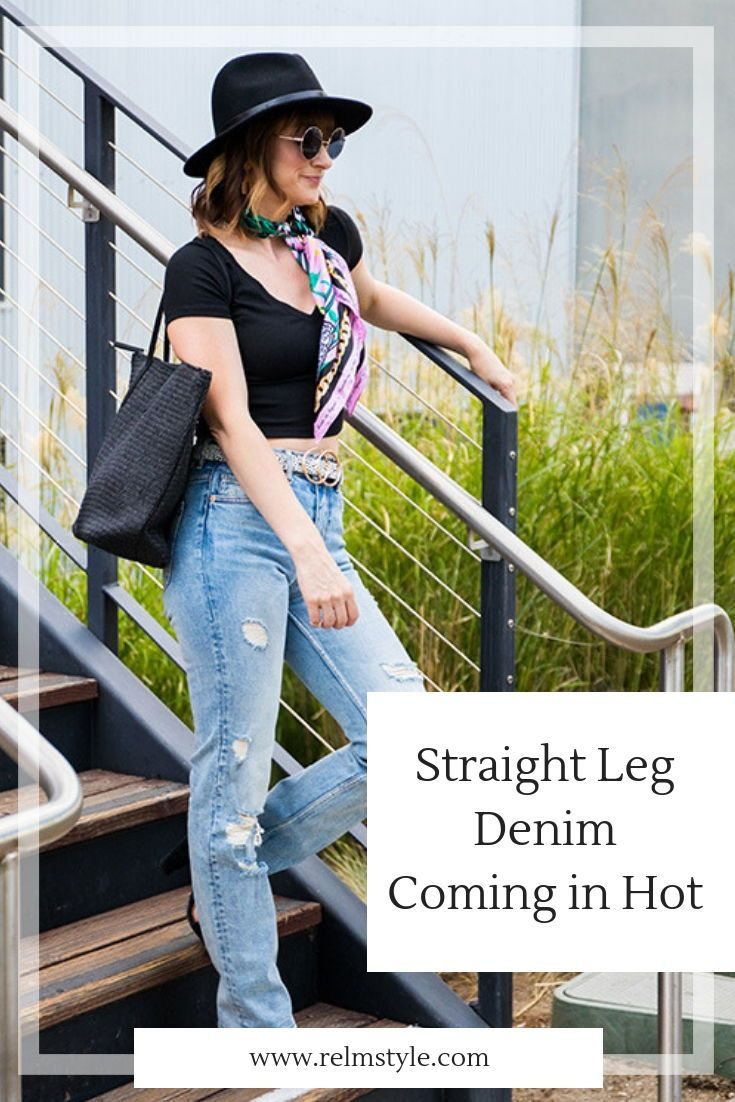 7ba836d749f Lifestyle and fashion blogger Rebecca from relmstyle is sharing the hottest  trend in straight leg denim. jeans. denim. high-waisted. casual outfit.  trend. ...