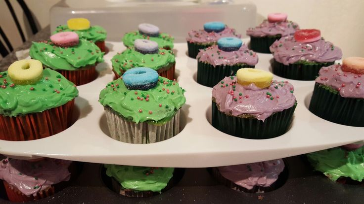 Cupcakes for a Barney Party