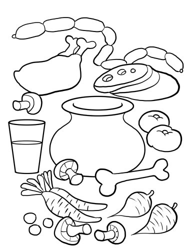 Stone Soup Coloring Page For Kids.      Stone Soup written by Jon J. Muth is a lovely s