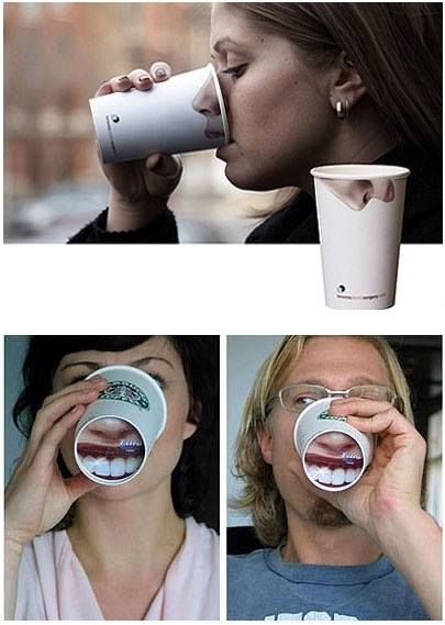 // Packaging #cup #nose #teeth #advertising #packaging