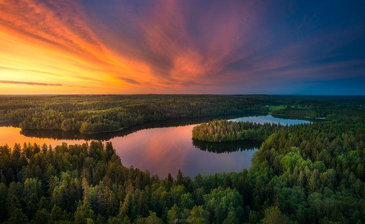 Aulangonjärvi From Above II - Fabulous sunset captured from Aulanko observation tower, Hämeenlinna, Finland. Lauri Lohi on 500px.