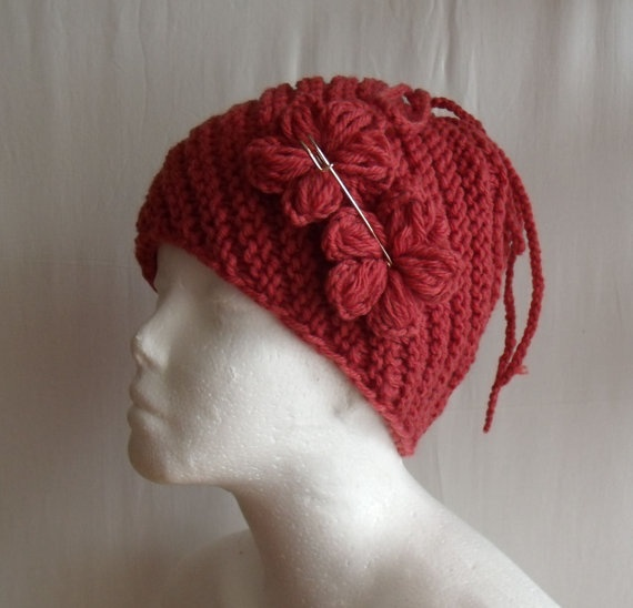 Indian roses burnt pink hand knitted winter hat by MyLaceSpace, $29.00