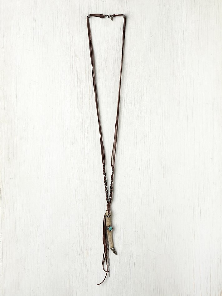 Gypsy Junkies Long Leather Horn Pendant at Free People Clothing Boutique