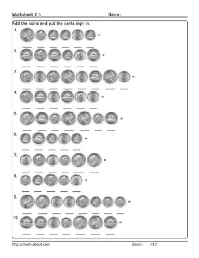 Adding Money Worksheets: Worksheet # 1 - Adding Coins to $1.00