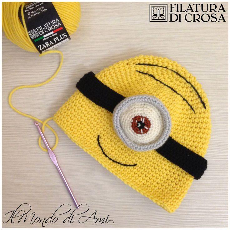 """Berretto Minion realizzato con filato """"Zara Plus"""" Filatura di Crosa #berretto #hat #uncinetto #fattoamano #minions #despicableme #cattivissimome #minion #crochet #handmade"""