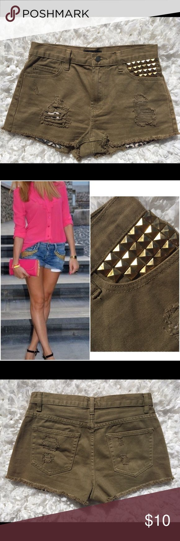 Khaki High Waist Gold Studded Pocket Tribal Shorts Olive Khaki High Waist Gold Studded Pocket Tribal Shorts. These cute shorts have a destroyed theme and a tribal/Aztec print under the ripped part. Cute with a loose tee and boots! Can be styled SO many ways! Listing them as 'Green' because they are close to an 'Olive' color. Style photo is not mine and is for style purposes only. 0409173250pc Forever 21 Shorts