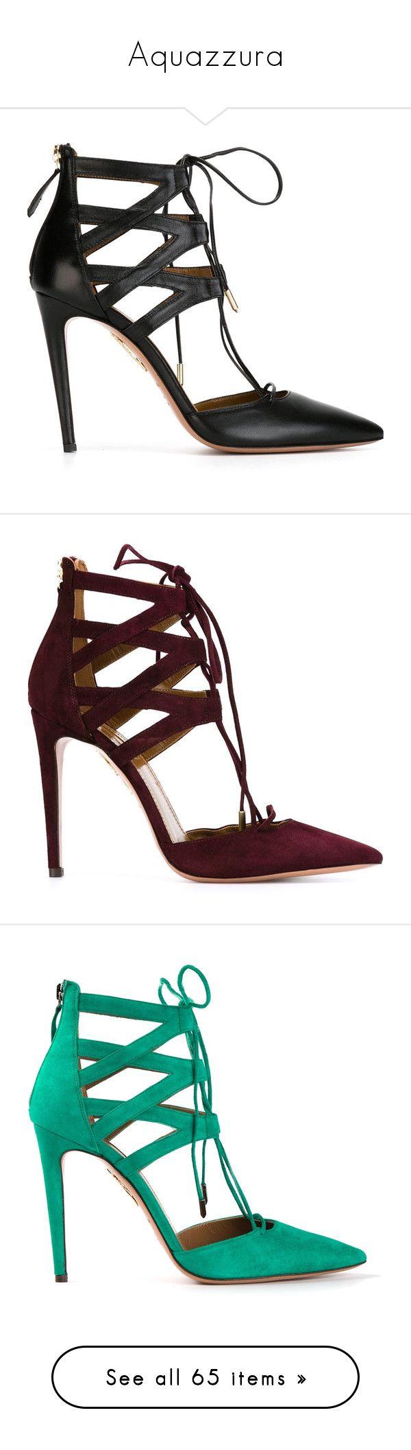 """Aquazzura"" by katiasitems on Polyvore featuring shoes, pumps, heels, aquazzura, saltos, black, heels stilettos, black stiletto pumps, lace up pumps and black stilettos"