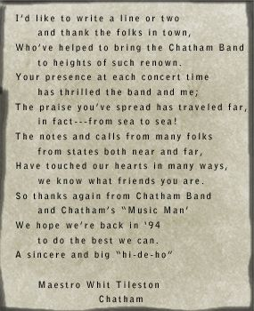 Poem by W. Whitney Tileston longtime leader of the Chatham Town Band.