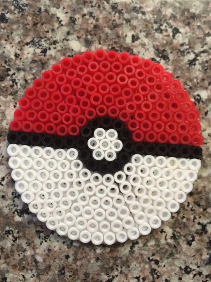 Pokemon Ball perler bead made with circle peg board