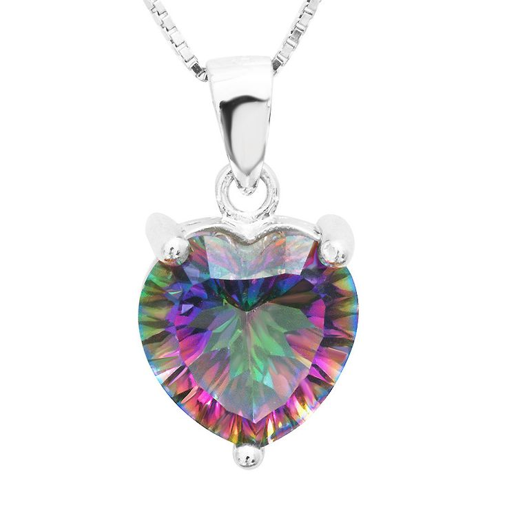 3.8ct Heart Genuine Rainbow Fire Mystic Topaz Pendant Necklace with 45cm chain, Pure Solid 925 Sterling Silver Necklace from VS Crazy Deals