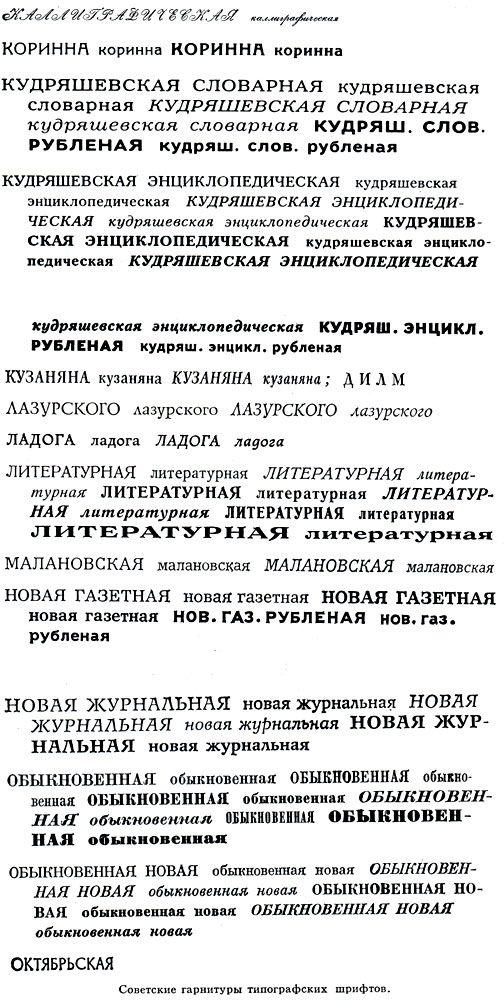 Советские гарнитуры типографских шрифтов
