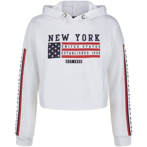 New Look Teens White American Flag Print Cropped Hoodie (980 PHP) ❤ liked on Polyvore featuring tops, hoodies, white, cropped hoodie, white crop top, white hoodie, cropped hooded sweatshirt and usa flag hoodie