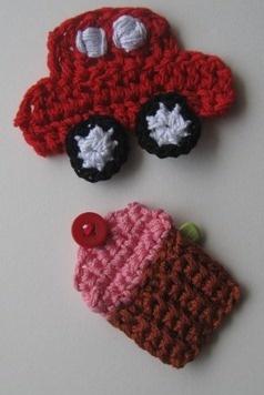 Cute little car & cup cake crochet broaches