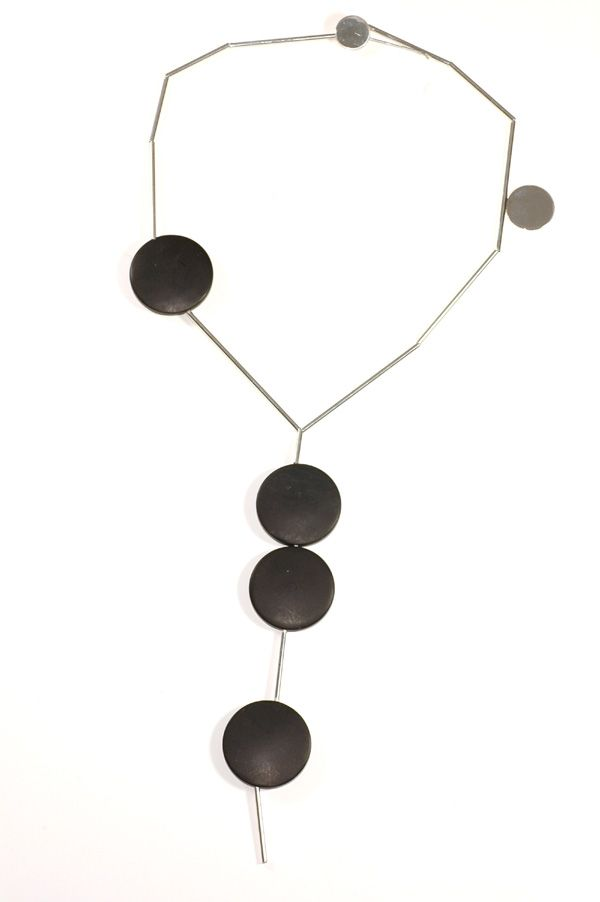 Breathtaking Betty Cooke Modernist Onyx disc and silver tube necklace. Beautifully shaped large Onyx discs separated by tubular silver rods. Signed - recent