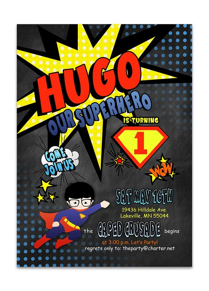 Superhero Birthday Invitation In Comic Book Style Printed Or Printable We Customize The Text For You And Can Print Yourself Choose Our