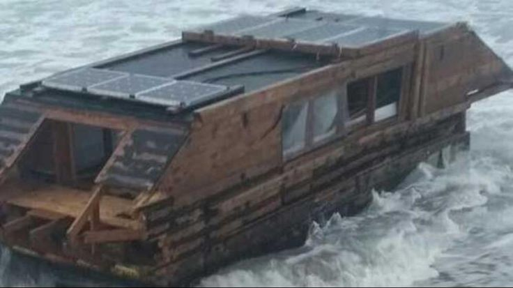 An abandoned houseboat apparently drifts some 2,000 miles from Canada to Ireland.