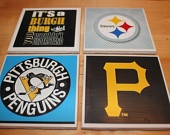 Set of 4 Custom Photo Coasters - It's a Burgh Thing - Steelers, Penguins and Pirates. $8.00, via Etsy.    LOVE THESE!!