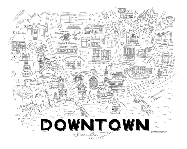 Downtown Knoxville Print 16x20 Knoxville Map Tennessee Map