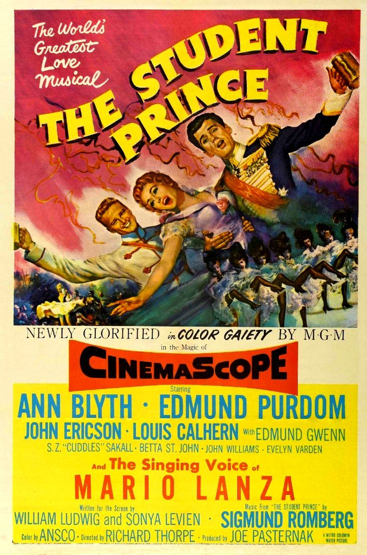 """Richard Thorpe's musical """"The Student Prince"""" (1954), starring Ann Blyth and Edmund Purdom, and featuring Mario Lanza as his singing voice."""