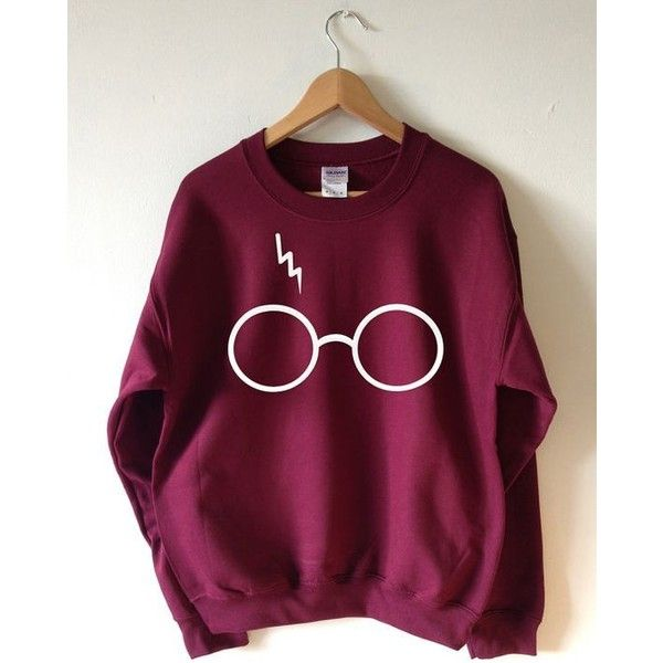 Harry Potter Sweatshirt Lightning Glasses Sweater Crew Neck High... ❤ liked on Polyvore featuring tops, unisex tops, sport top, cut loose tops, crew neck tops and loose fit tops