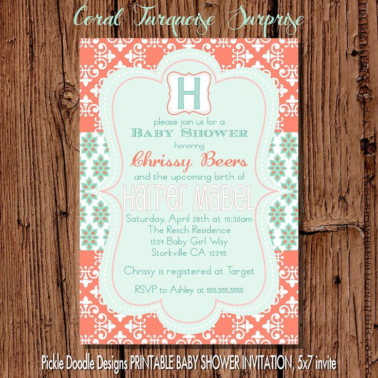 baby shower invitation wording for bringing diapers%0A Baby Girl Shower Invitation  Coral  u     Turquoise Damask  x  printable           via Etsy