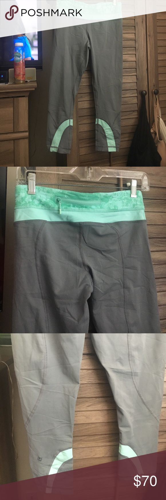 Lululemon run inspire crops NWT lululemon run inspire crops in grey & mint color !! Very comfortable & cute on .. just haven't worn them and they've been sitting in my closet forever .. my loss is your gain lululemon athletica Pants Capris