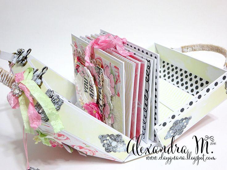 Sliding mini album in a case, Magnolia sky Fabrika Dekoru, Safari Adventure Case and album