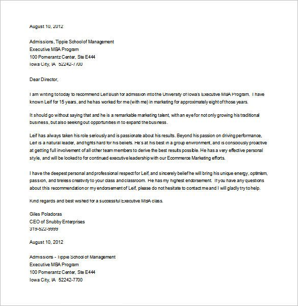 recommendation letter for student going to college