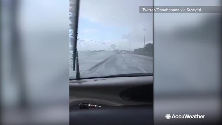 Portsmouth, United Kingdom was one of many areas hit hard by high winds and strong waves during Storm Brian.  This driver experienced it first hand.