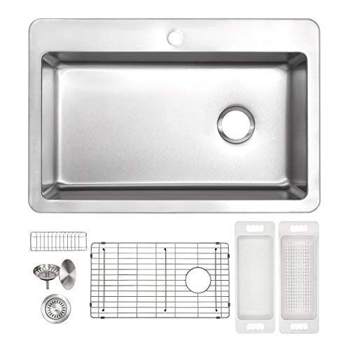 Zuhne Verona 33 X 22 Single Bowl 1 Hole Drop In Top Or Over Mount Offset Drain 16 Gauge Stainless Steel Kitchen Sink W Drop In Kitchen Sink Sink Stainless Sink