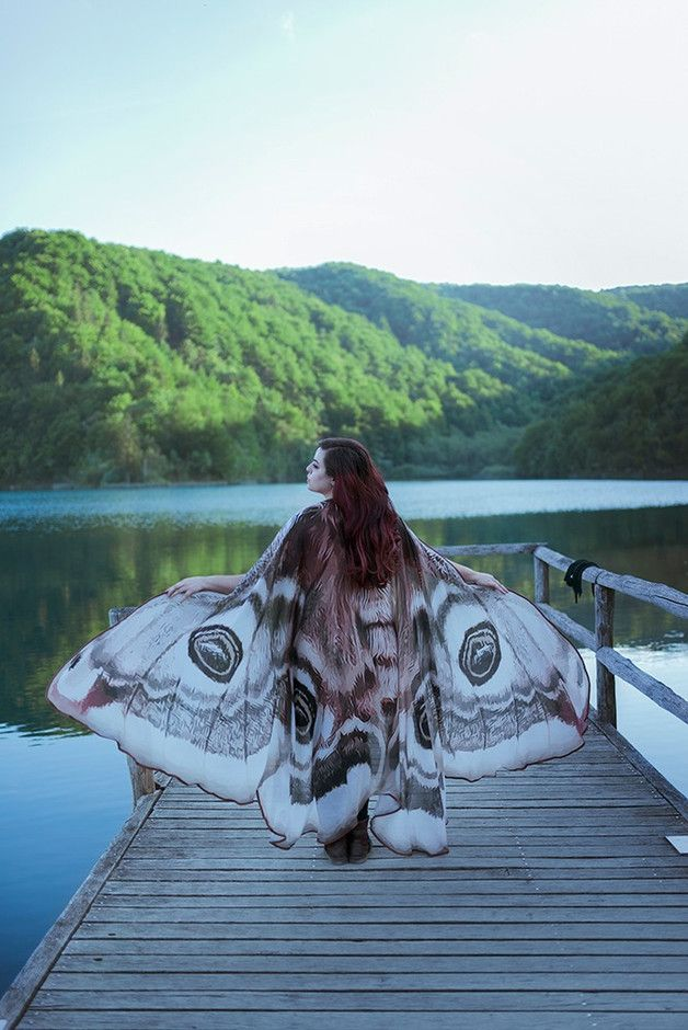 Capes & Ponchos – Moth wings butterfly cape fairy cloak brown – a unique product by CostureroReal on DaWanda