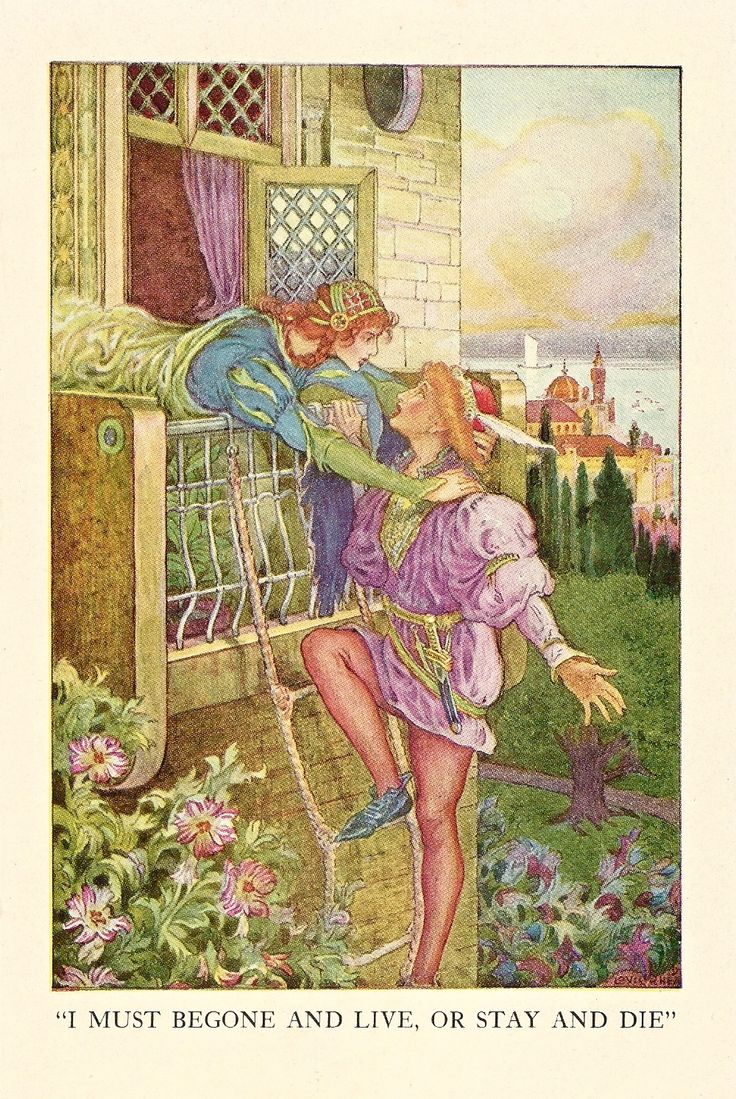 1918 illustration of Romeo and Juliet found in Tales from Shakespeare in an Ephemera Grab Bag on Characters in Shakespeare.