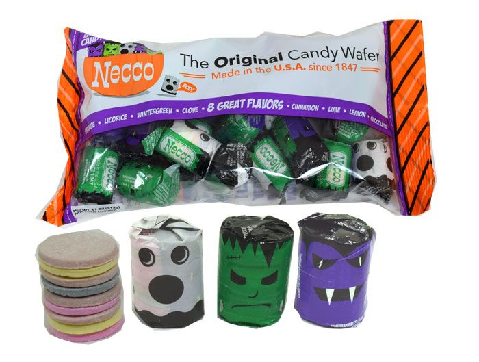 This retro Halloween candy has to be in your treat bag this Halloween! This bag of Necco Wafers has 23, individually wrapped rolls of these famous candy wafers. These rolls are all dressed up for Halloween and are wearing a ghost, Frankenstein, or vampire bat costume. Necco Wafers make a great bulk candy for parades, class parties, trick or treating candy, or as a snack for you to enjoy!  <br><br> <ul><li> Shipping weight for this bag is around 1lb when shipped. <&#...