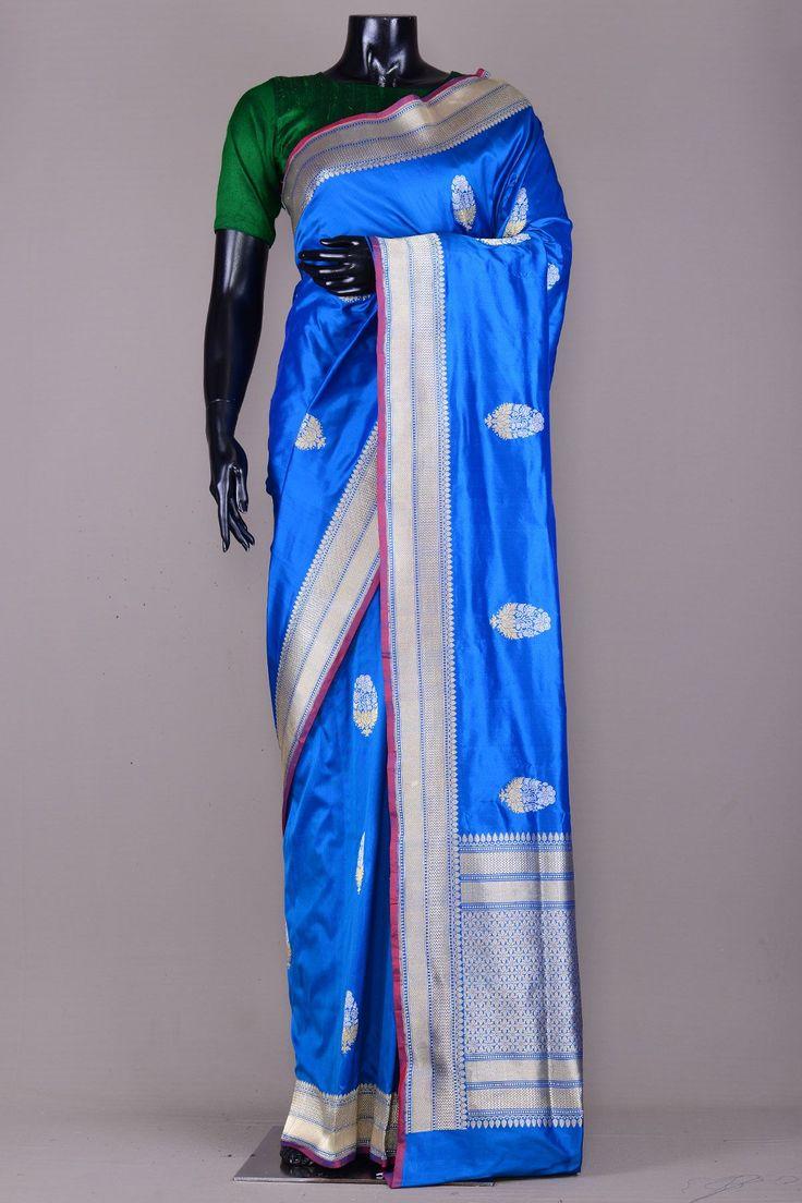 True Blue Zari Woven Banarasi Silk Saree-VJ1558