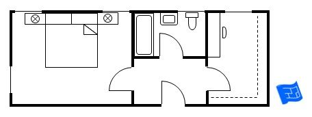 Here's a space efficient master bedroom design with a standard sized bath and a good sized dressing room with room for a dressing table.  The bedroom is exactly that - the bedroom.