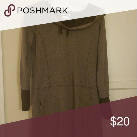 Columbia dress Brown, sweatshirt hoodie dress with pockets Columbia Dresses Long Sleeve