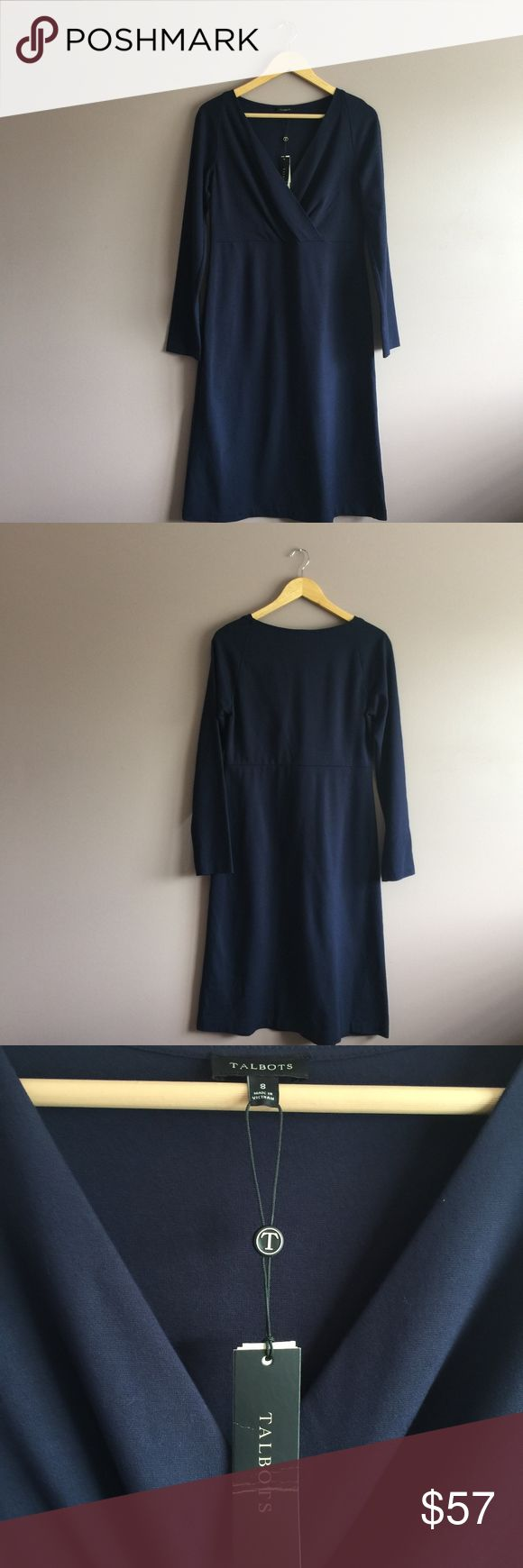 Women's Talbots Navy Blue Dress Size 8 Elegant and beautiful Size 8 New with Tags long sleeve v-neck navy dress with soft a material that is very comfortable and from a smoke-free/pet-free home. Offers are always welcome. Bundle for additional savings and reduced shipping cost. 1-business day shipping.  Material is 63% rayon, 32% rayon, and 5% spandex. Talbots Dresses