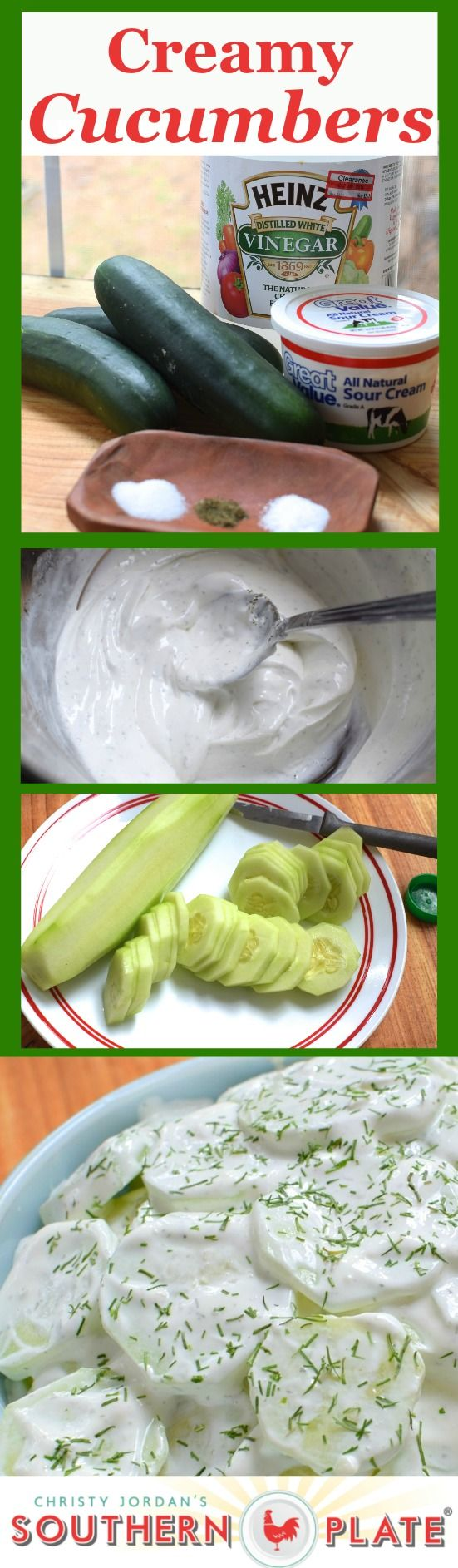 Recipe for Fresh Cucumbers in a Light Sour Cream Dressing - Absolutely Delicious! http://www.southernplate.com