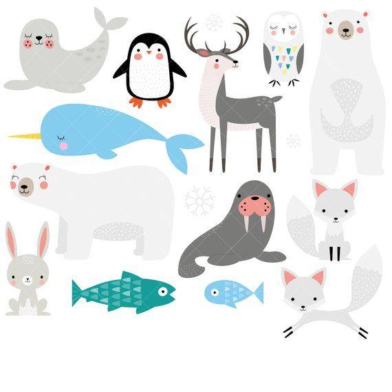Arctic Animals Clipart Winter Animals Clip Art Polar Bear Etsy Animal Clipart Arctic Animals Winter Animals