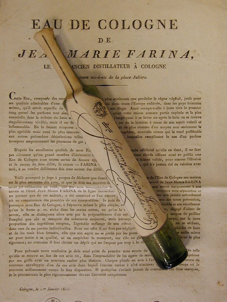 Original Eau de Cologne flacon 1811, from Johann Maria Farina, Farina gegenüber