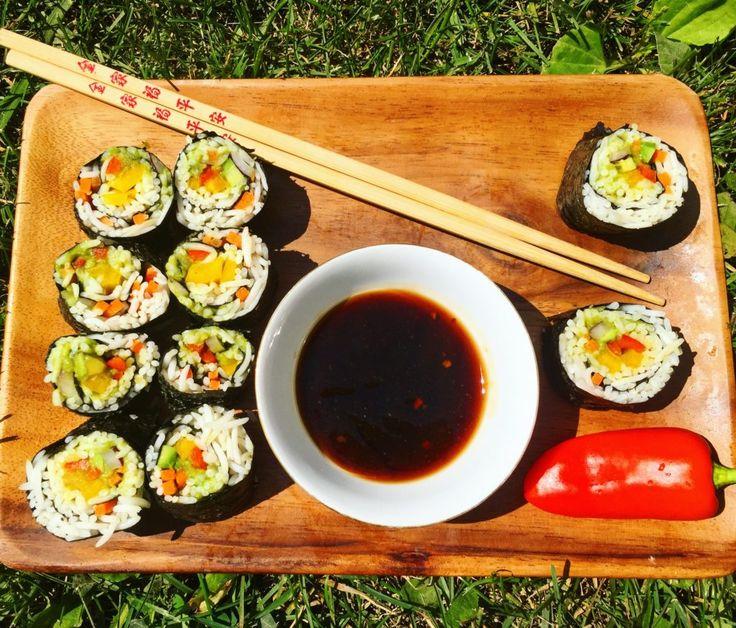 Rainbow Sushi Rolls - soo good!! VEGAN