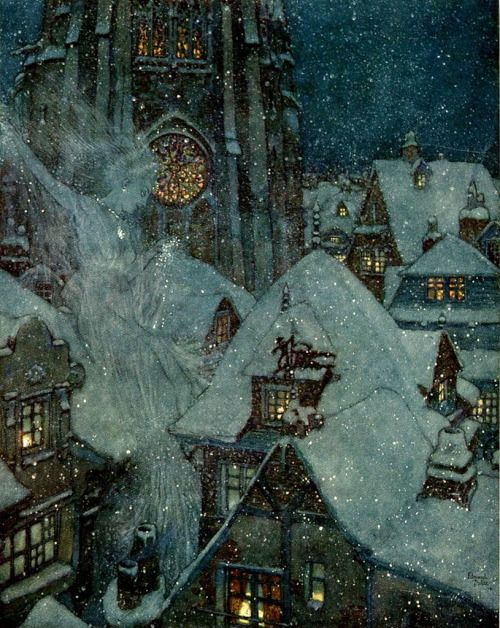 pagewoman:  The Snow Queen Flies Through the Winter's Night by Edmund Dulac. via  english-idylls