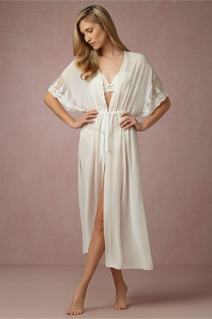 BHLDN Virginia Tea-Length Robe in  Bride Bridal Lingerie Chemises & Robes at BHLDN