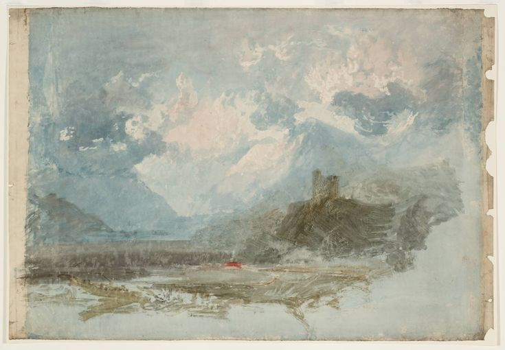 Joseph Mallord William Turner 'Dolbadarn Castle: Colour Study', ?1799–1800 - Graphite and watercolour on paper - Dimensions Support: 670 x 980 mm - Collection - Tate