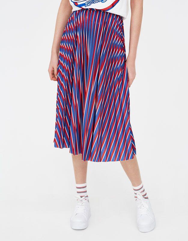 Pleated striped midi skirt - Skirts - Clothing - Woman - PULL&BEAR United Kingdom