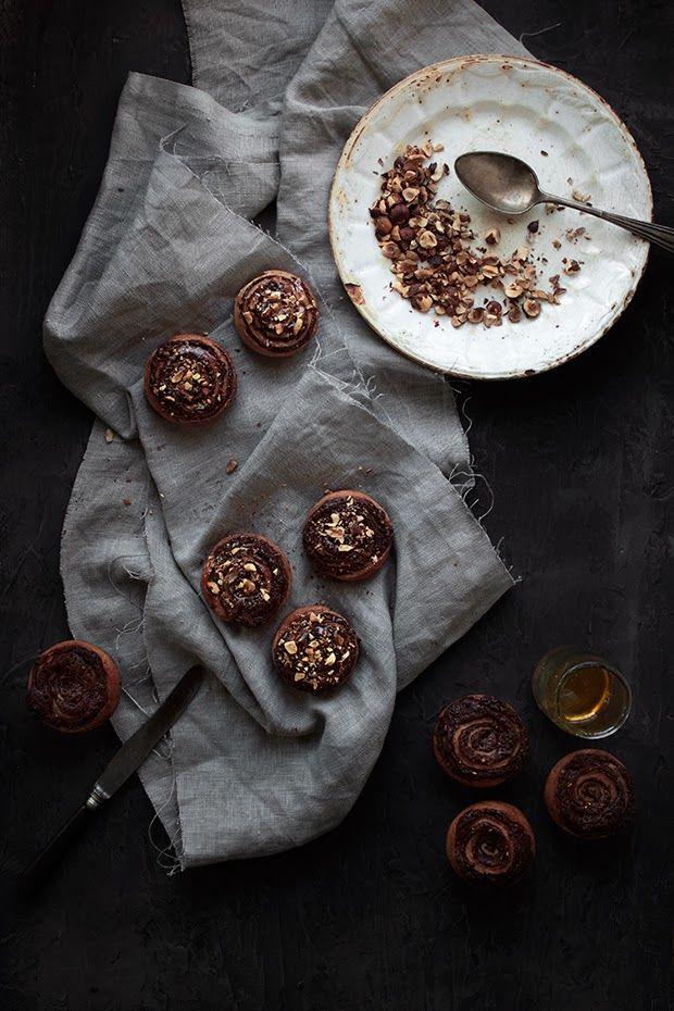 Chocolate & Hazelnut Swirl Spelt Buns // Le Passe Vite