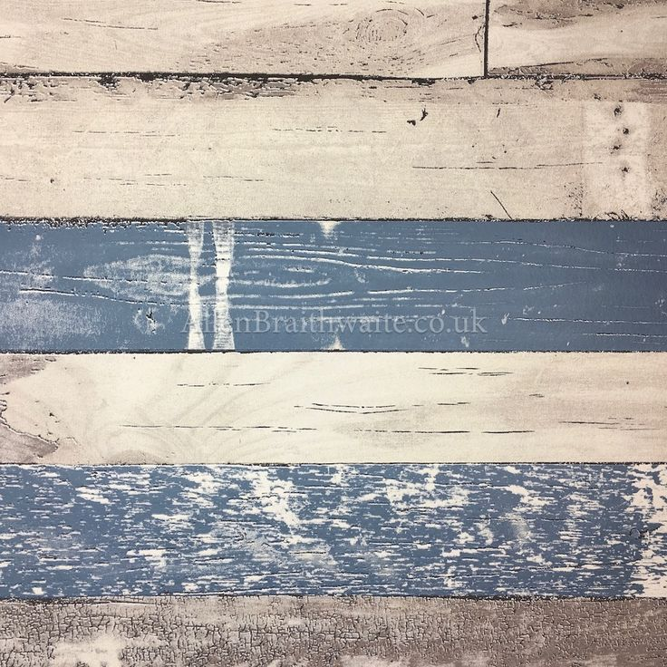 Weathered wooden planks with a worn blue, grey and taupe painted effect. This textured wallpaper will give any room a rustic look and feel.